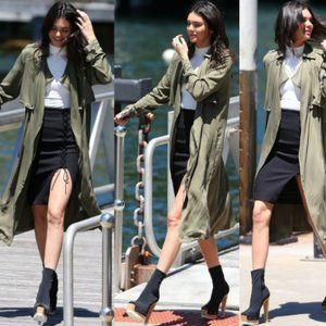 KENDALL + KYLIE Black Lace-Up Midi Pencil Skirt